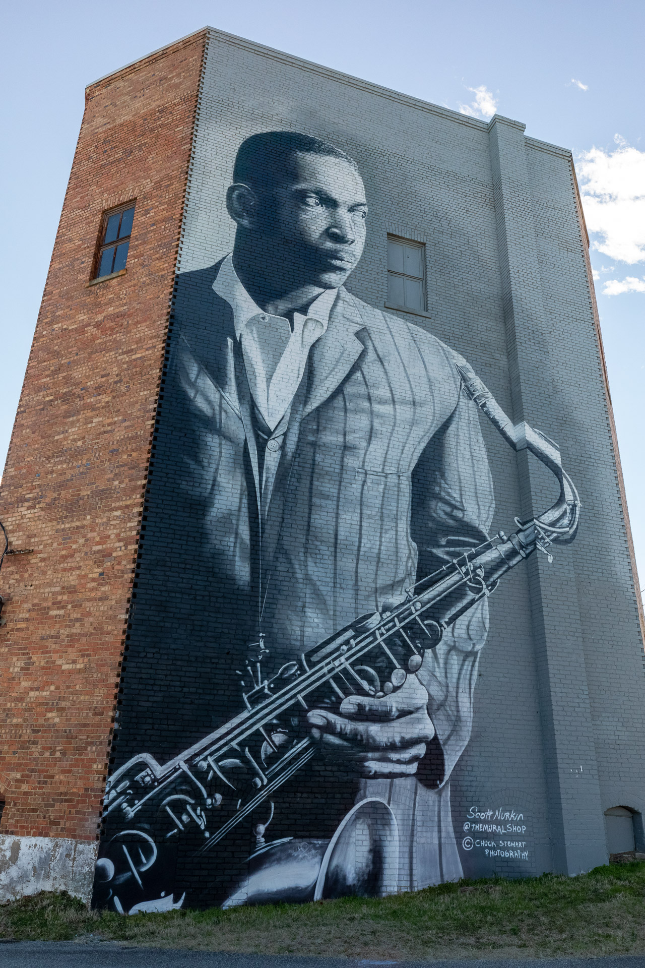 mural of john coltrane in hamlet nc